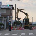バックホウによる道路工事